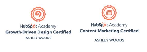 Ashley Woods Assuaged Inc HubSpot Certifications