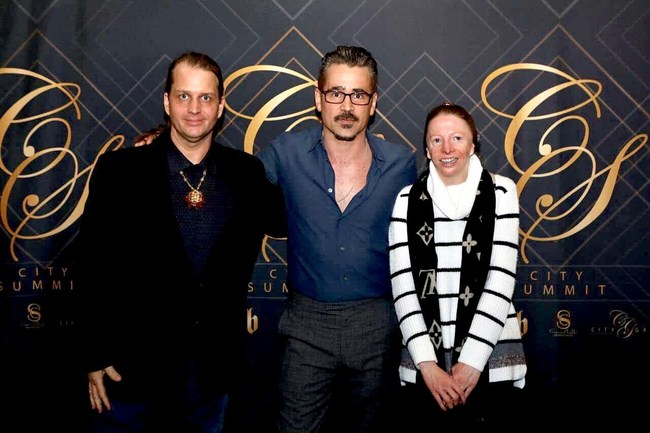 Picture of Thane and Cynthia Murphy with Actor Colin Farrell taken at City Summit City Gala