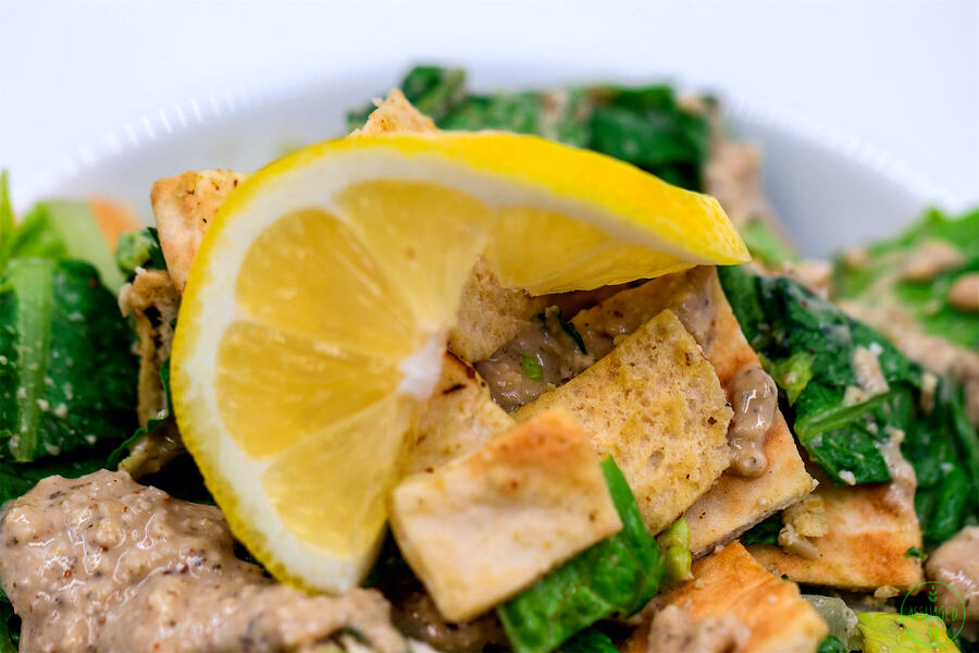 Bonnies Vegan Caesar Dressing Salad with Homemade croutons