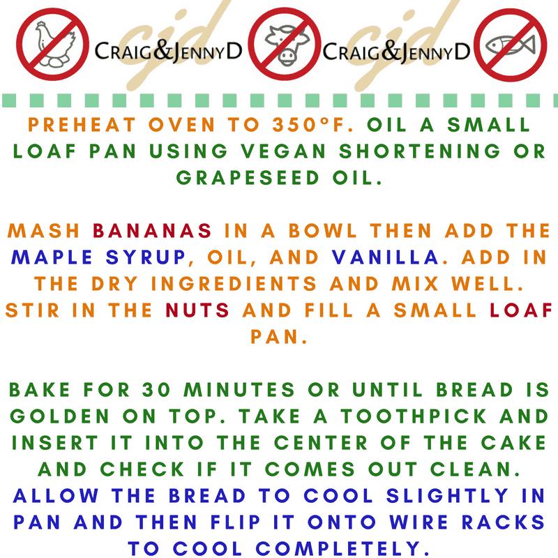 Craig and Jenny Banana Bread Cooking Instructions