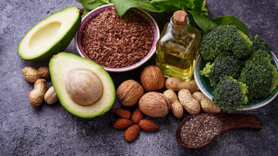 Gluten-free quinoa grains nuts avocado oil salad ingredients