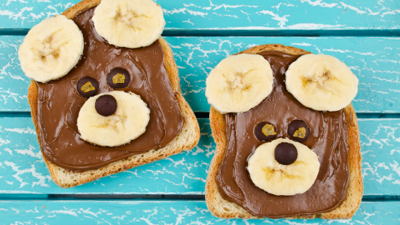 nutella peanut butter toast with bananas and bear faces