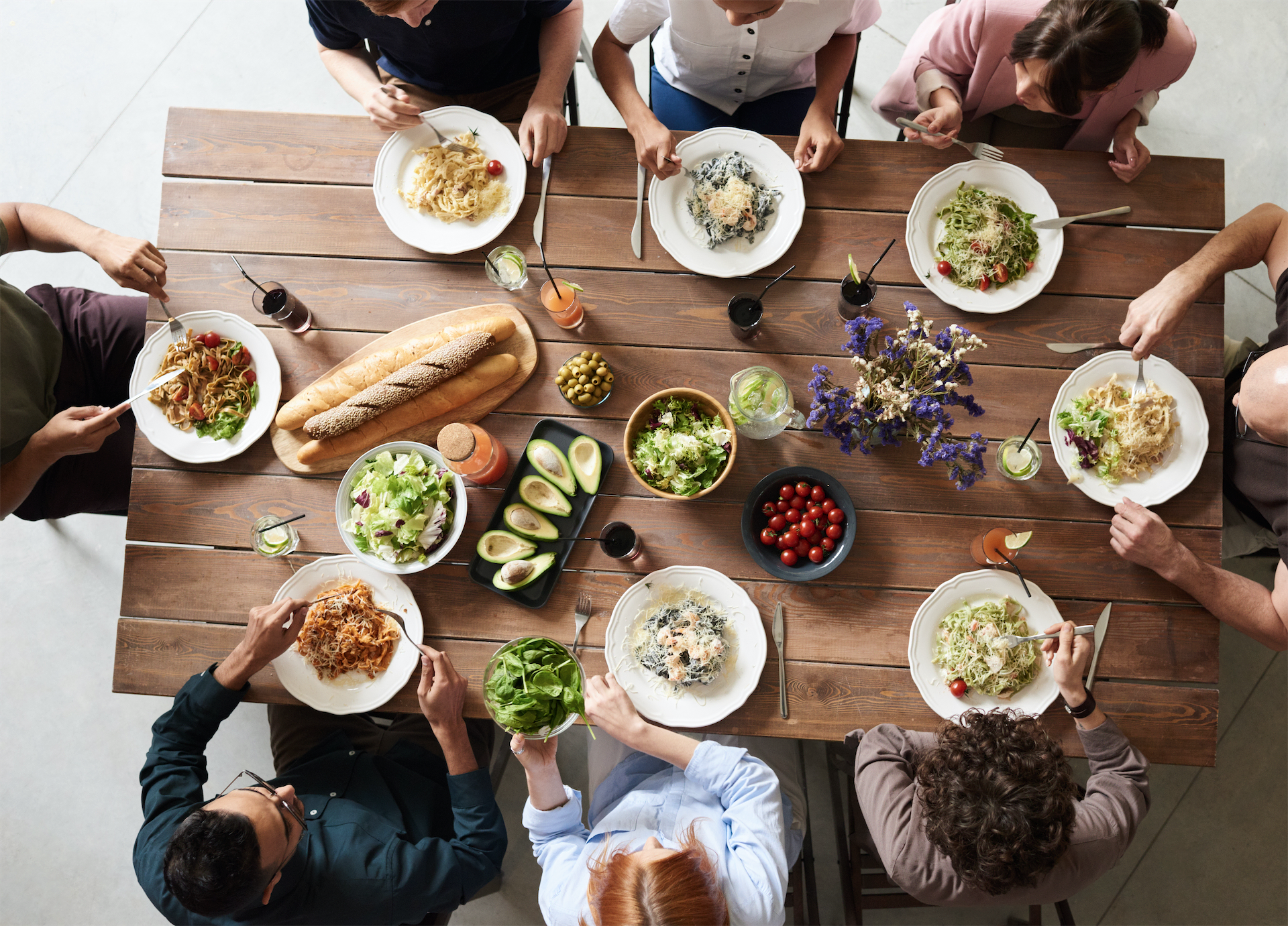 friends gathering for healthy food and company