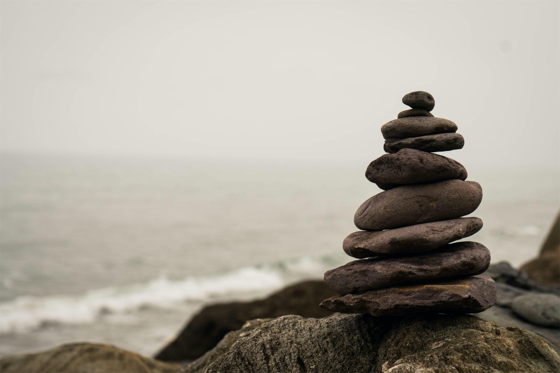 Mindfulness balance meditation- Piled Stones By the Sea